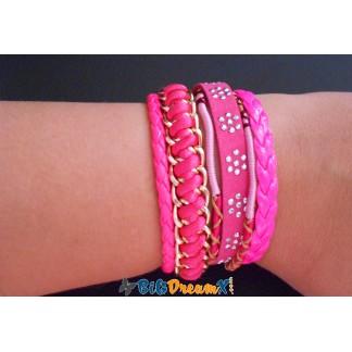 Bracelet brésilien coloris rose fermoir magnétisé