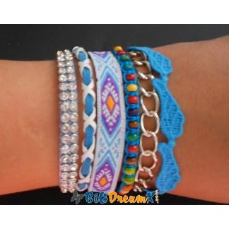Bracelet brésilien de couleur bleu aimanté