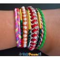Bracelet brésilien multicouleur rouge et vert aimanté avec  8 rangs
