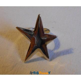 Bague argenté réglable en forme d'étoile