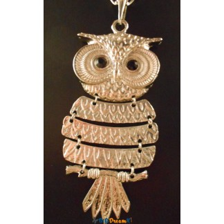 Collier hibou argenter grande taille