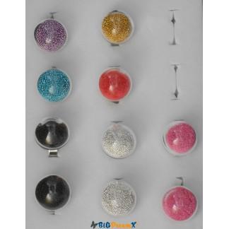 Bague remplie de micro perle de couleur